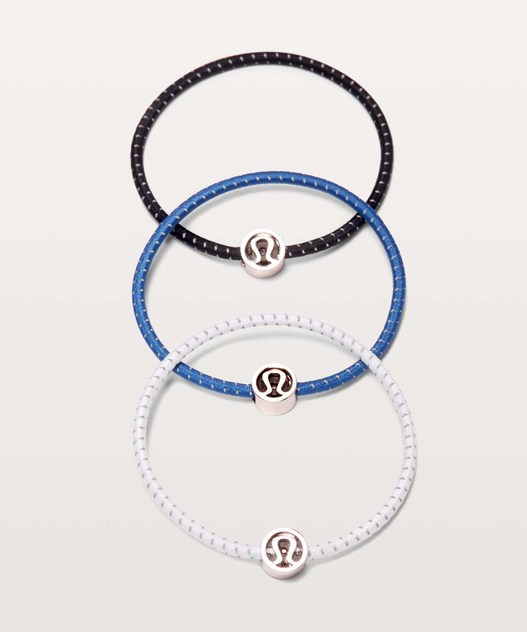 Lululemon Glow On Hair Ties - White / Moroccan Blue / Midnight Navy