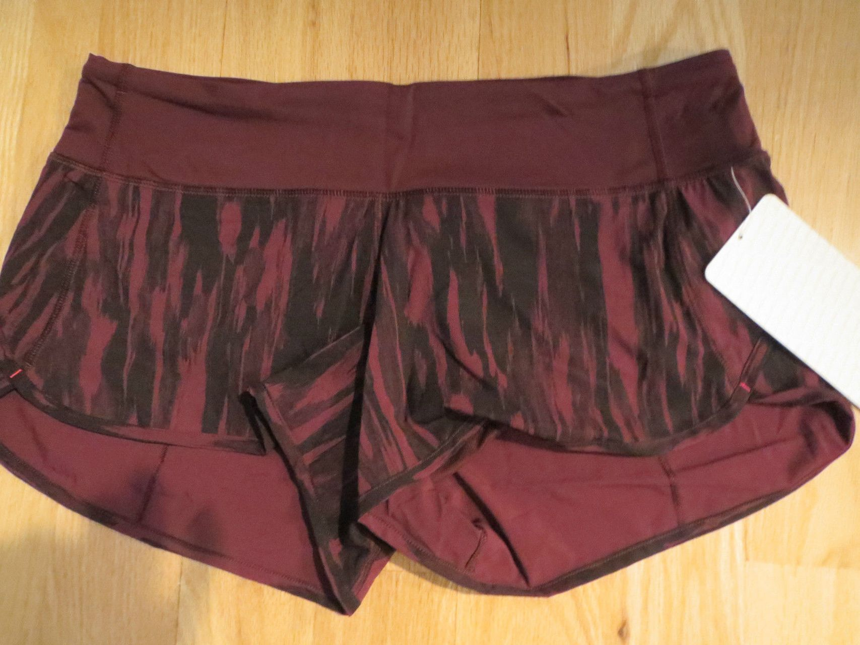 Lululemon Run:  Speed Short *4-way Stretch - Painted Animal Bordeaux Drama Black / Bordeaux Drama