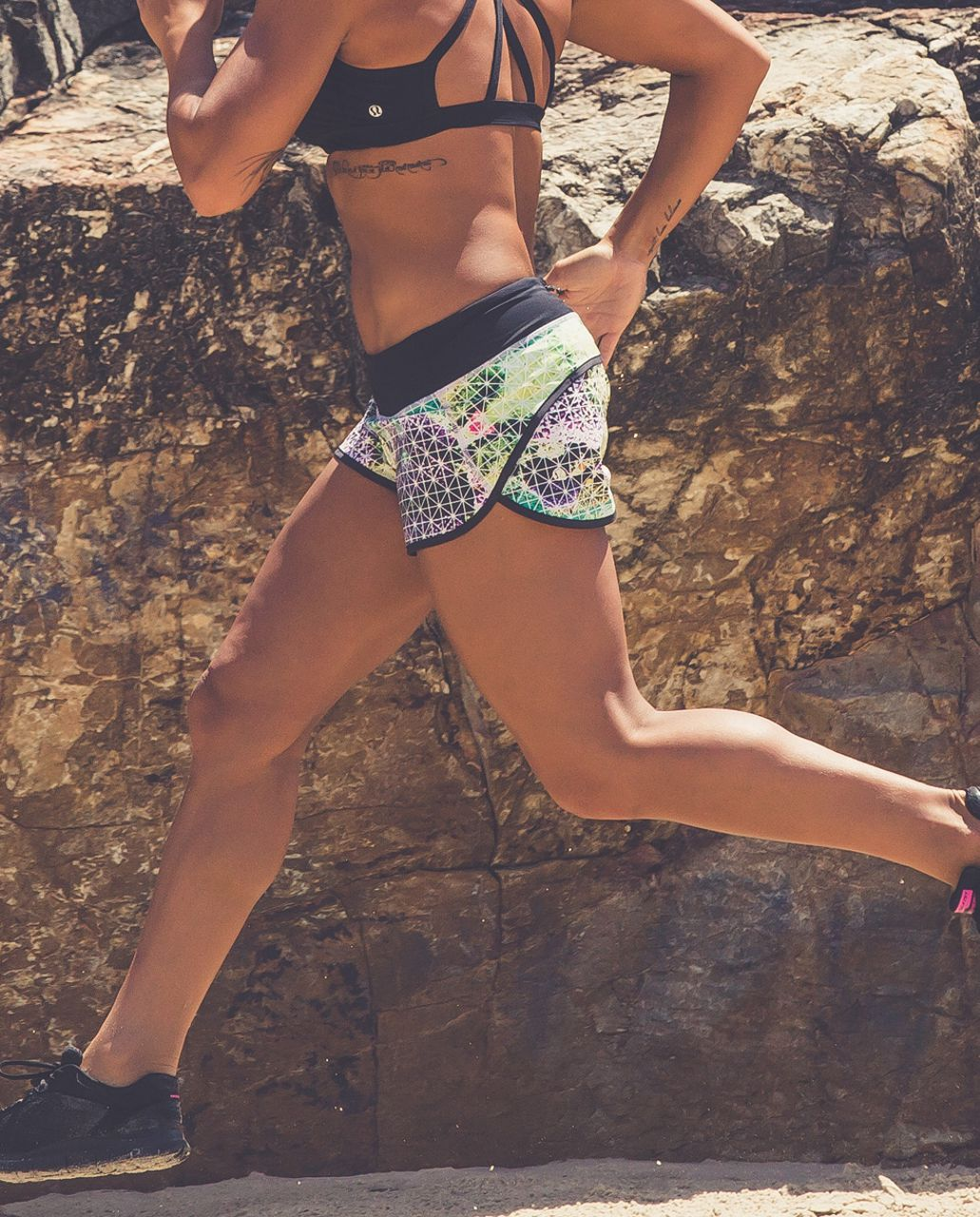 Lululemon Run:  Speed Short *2-way Stretch - Paradise Grid Very Green Multi / Black