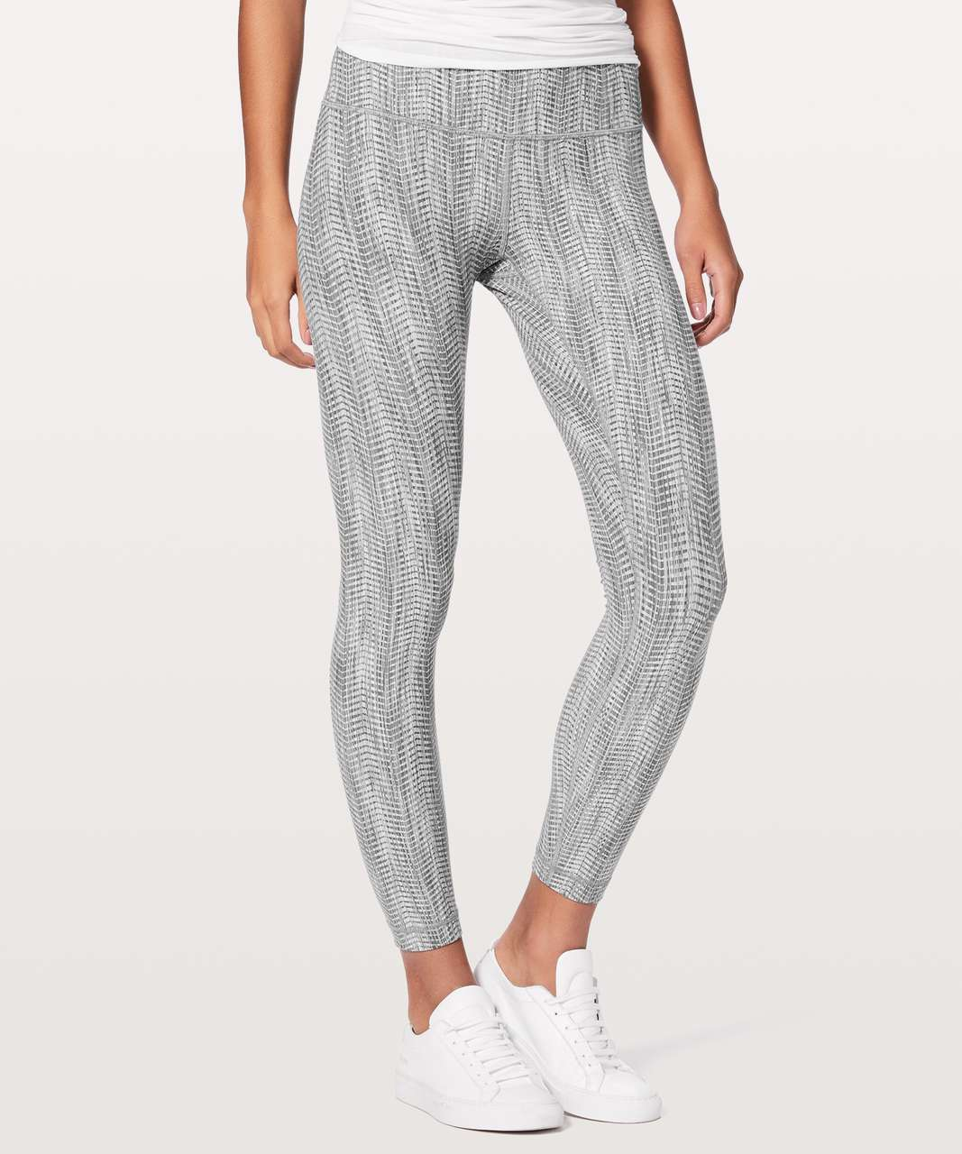 "Lululemon Wunder Under Hi-Rise 7/8 Tight *Luxtreme 25"" - Power Luxtreme Arrow Jacquard Battleship Silver Spoon"