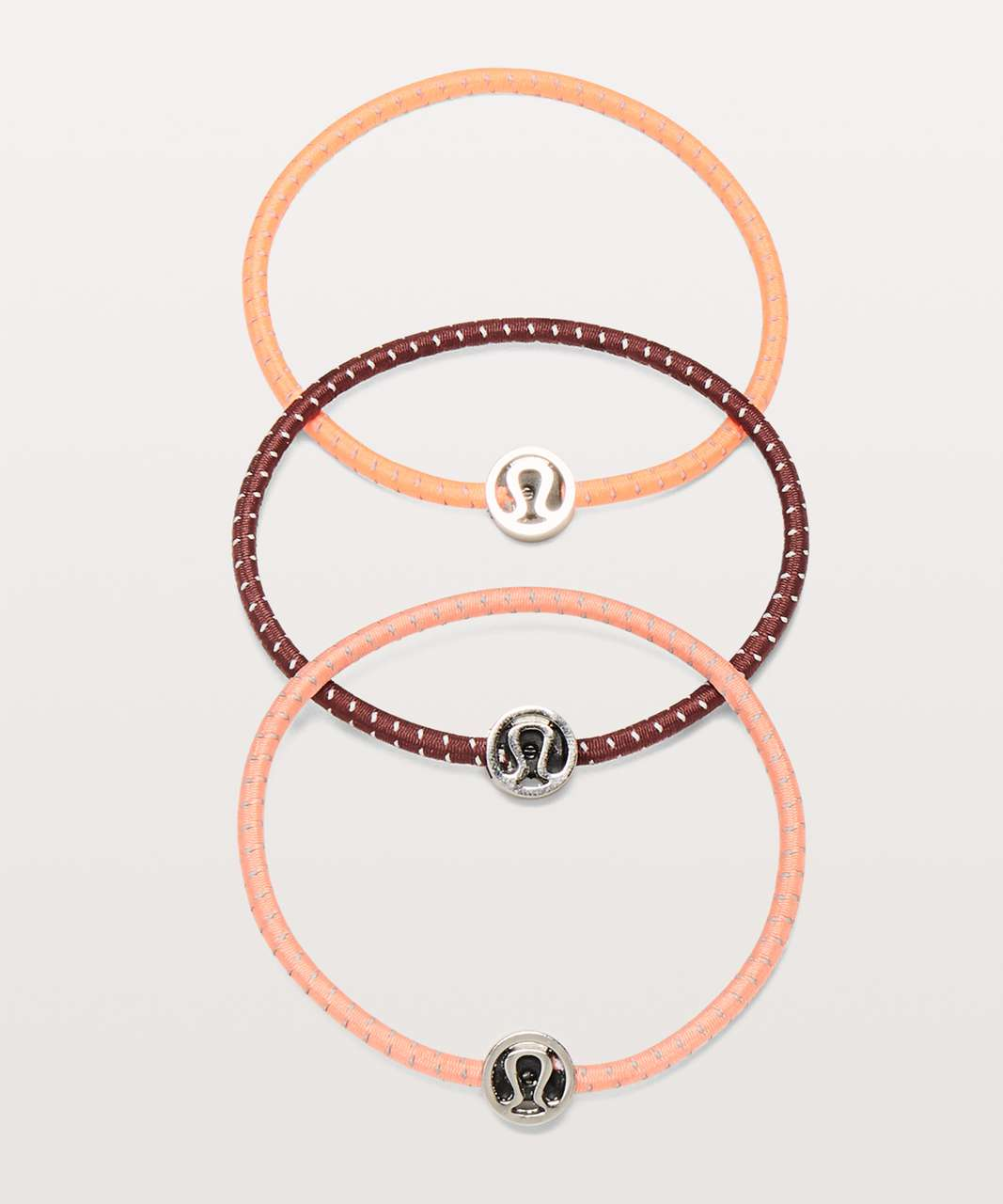 Lululemon Glow On Hair Ties - Redwood / Sunset / Light Coral