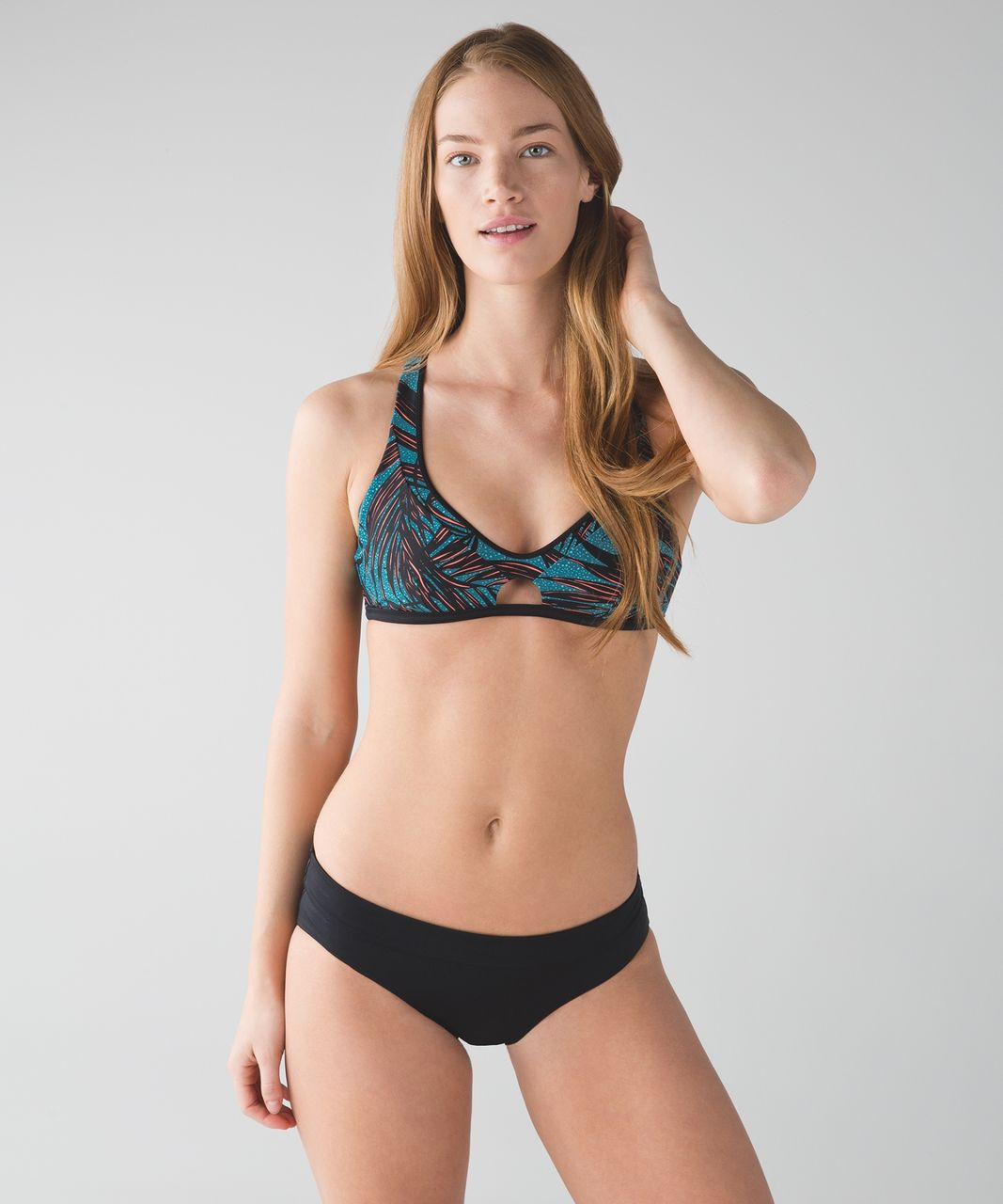 Lululemon Surf To Sand Sport Top II - Palm Lace Tofino Teal Grapefruit / Black