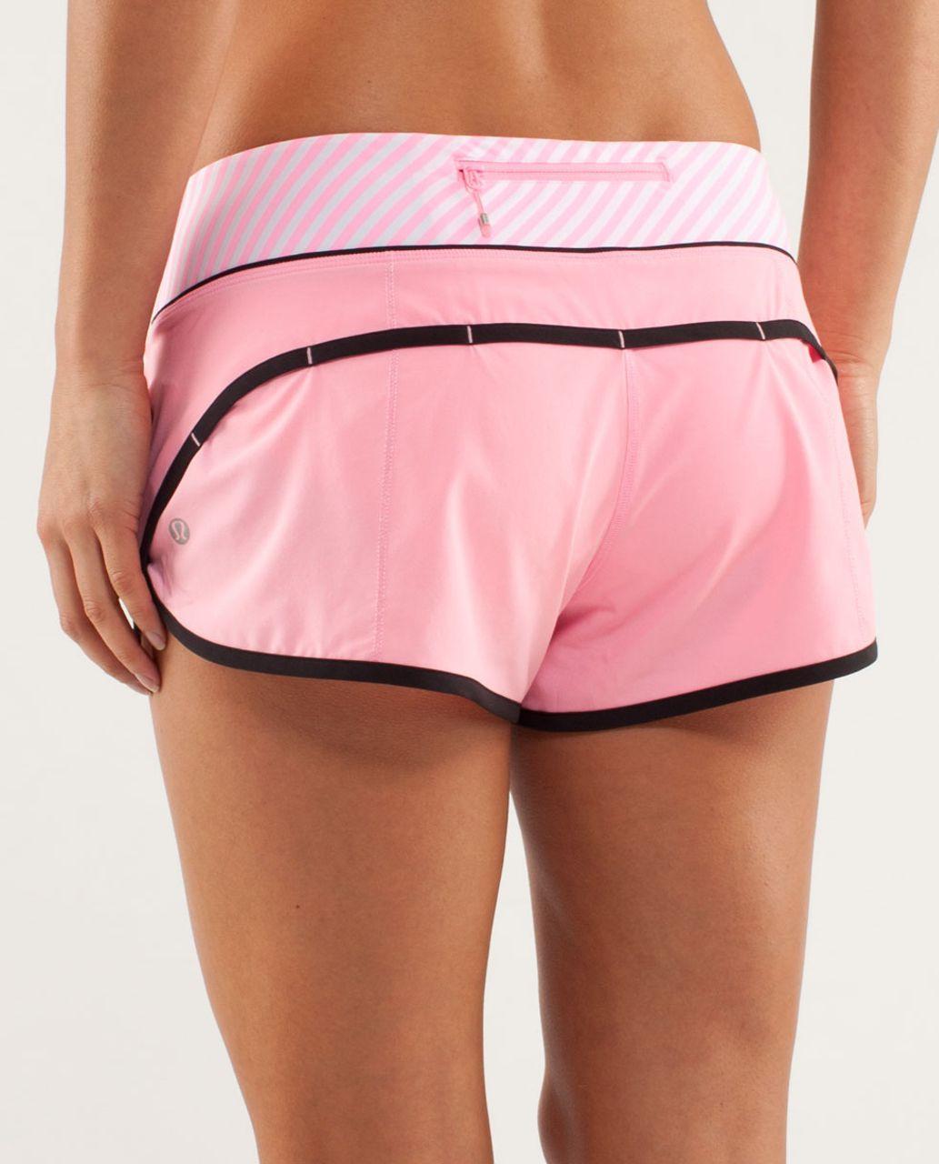 Lululemon Run:  Speed Short - Pink Shell / Classic Stripe White Pink Shell / Black