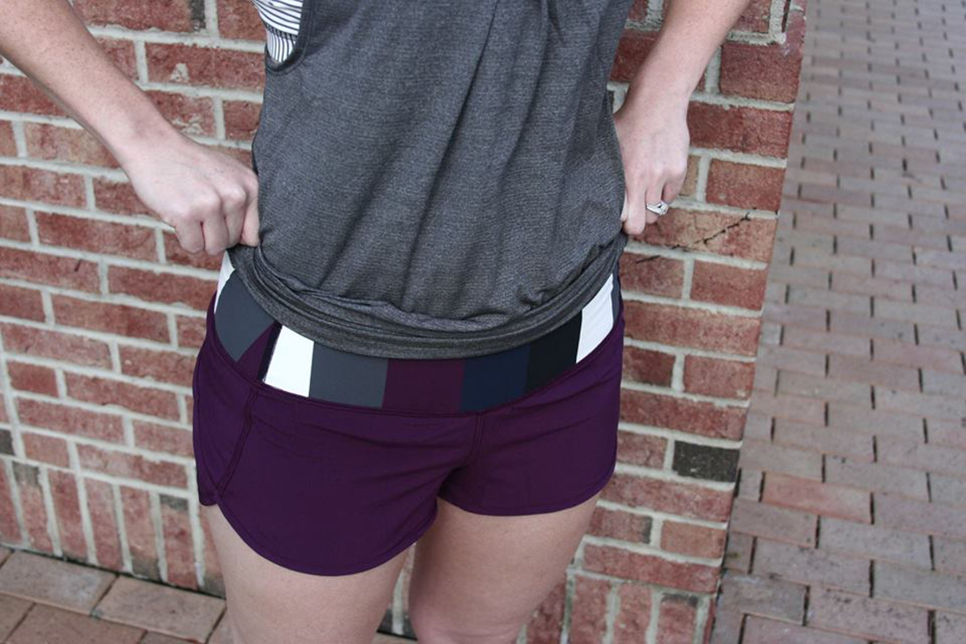 Lululemon Run:  Speed Short - Plum / Pow Stripe Angel Wing