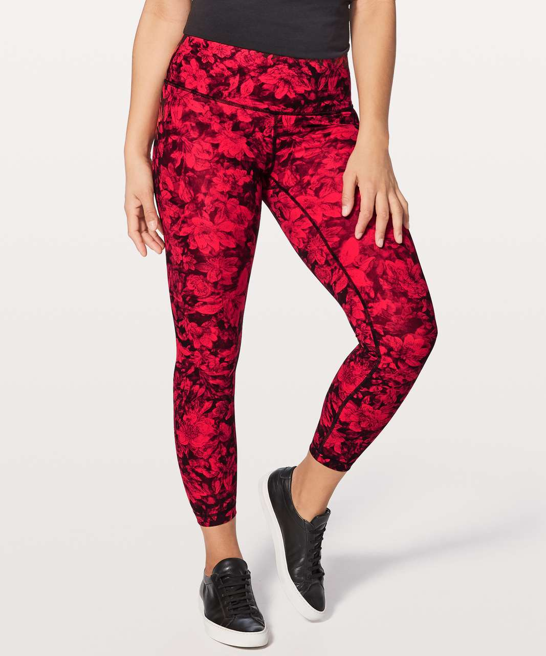 "Lululemon Wunder Under Hi-Rise 7/8 Tight 25"" - Carminetrue Red Black"
