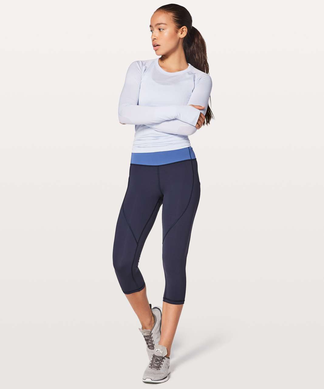 "Lululemon Quick Feet Crop 19"" - Midnight Navy / Moroccan Blue"