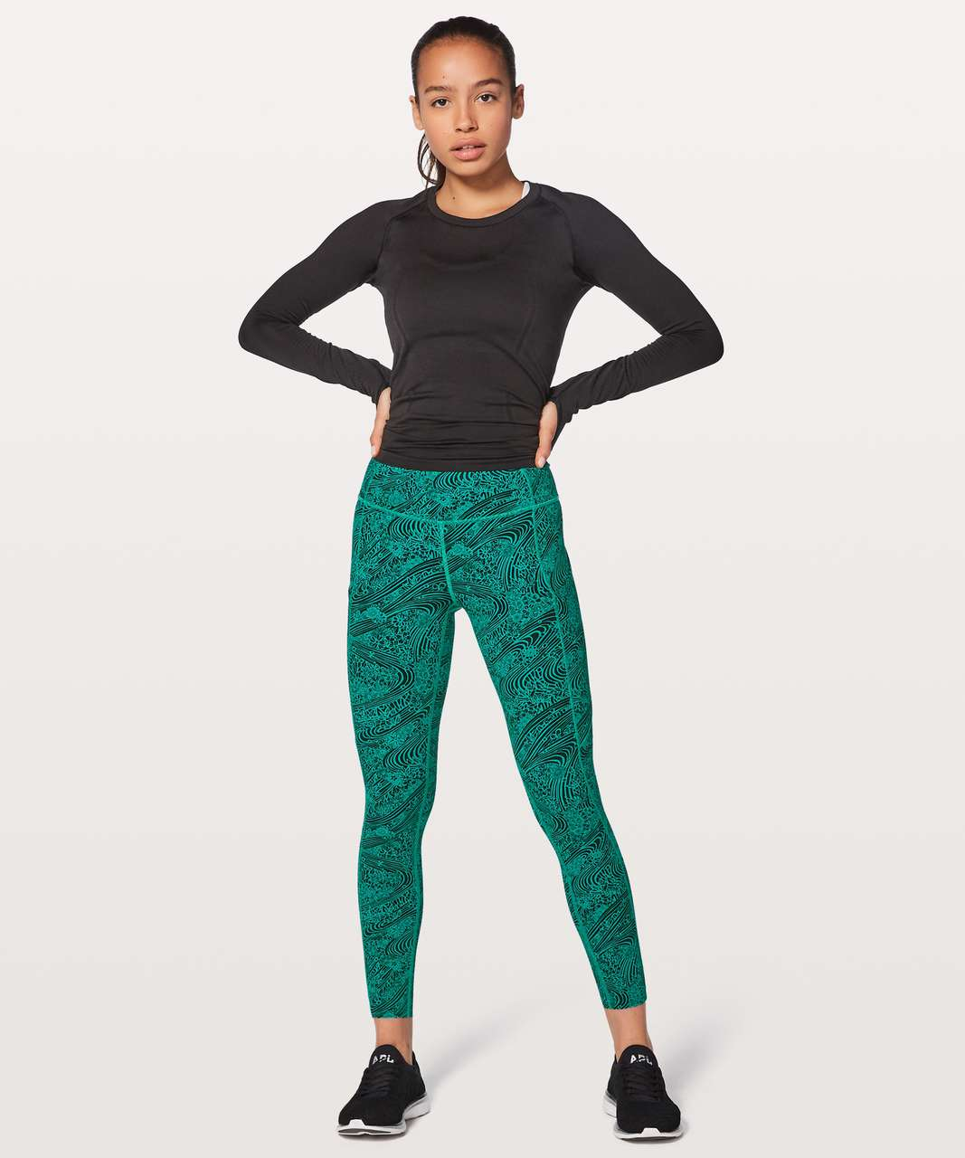 "Lululemon Fast & Free 7/8 Tight II *Nulux 25"" - Kitakami Viridian Green Black"