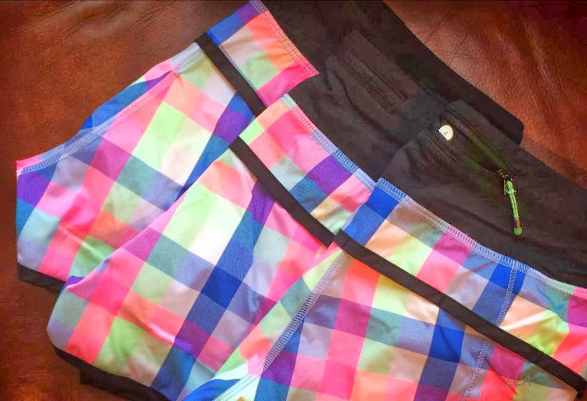Lululemon Run:  Speed Short *2-way Stretch - Pop Plaid Reflective Multi / Black