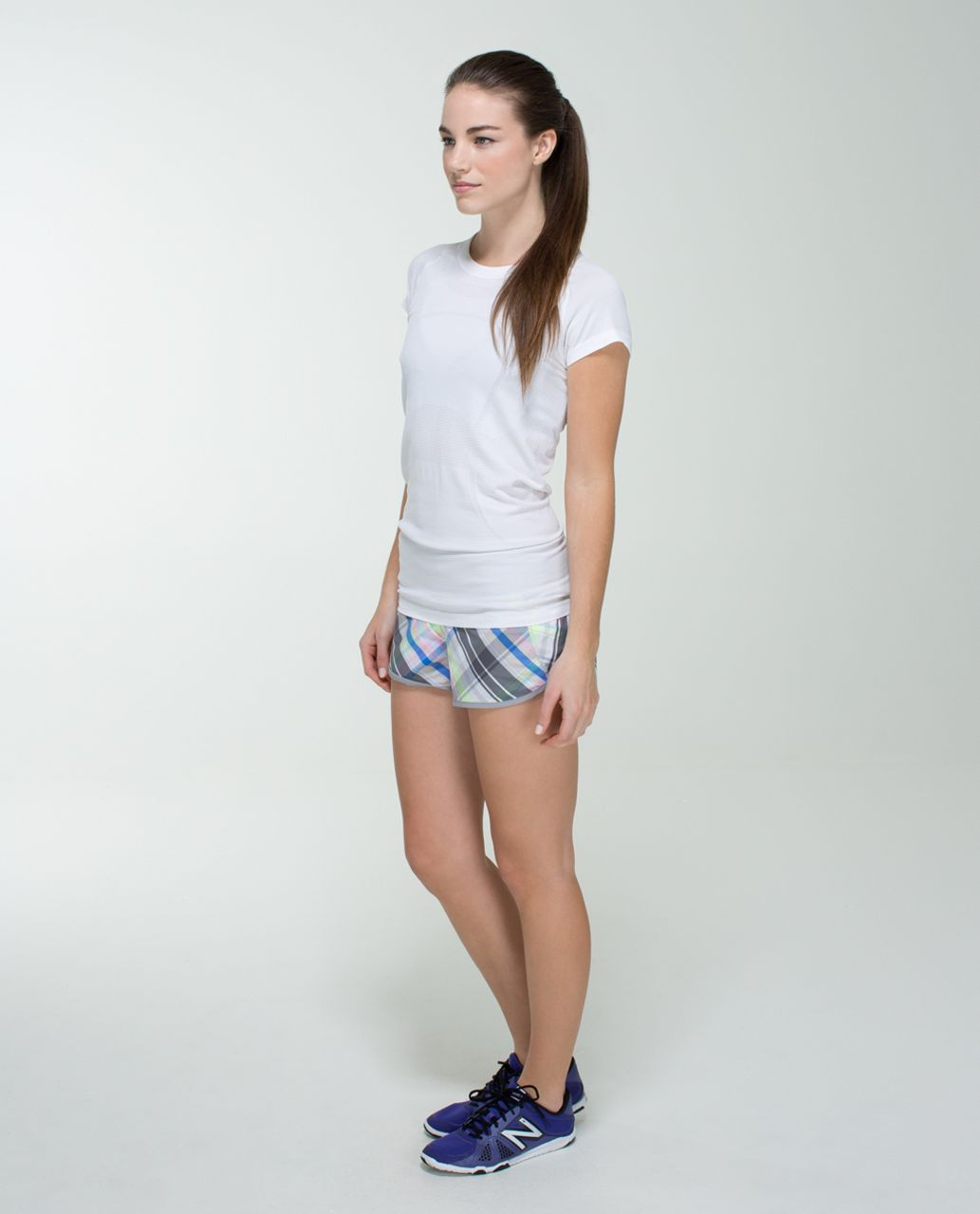 Lululemon Run:  Speed Short *2-way Stretch - Rad Plaid Lullaby Reflective / Ambient Grey