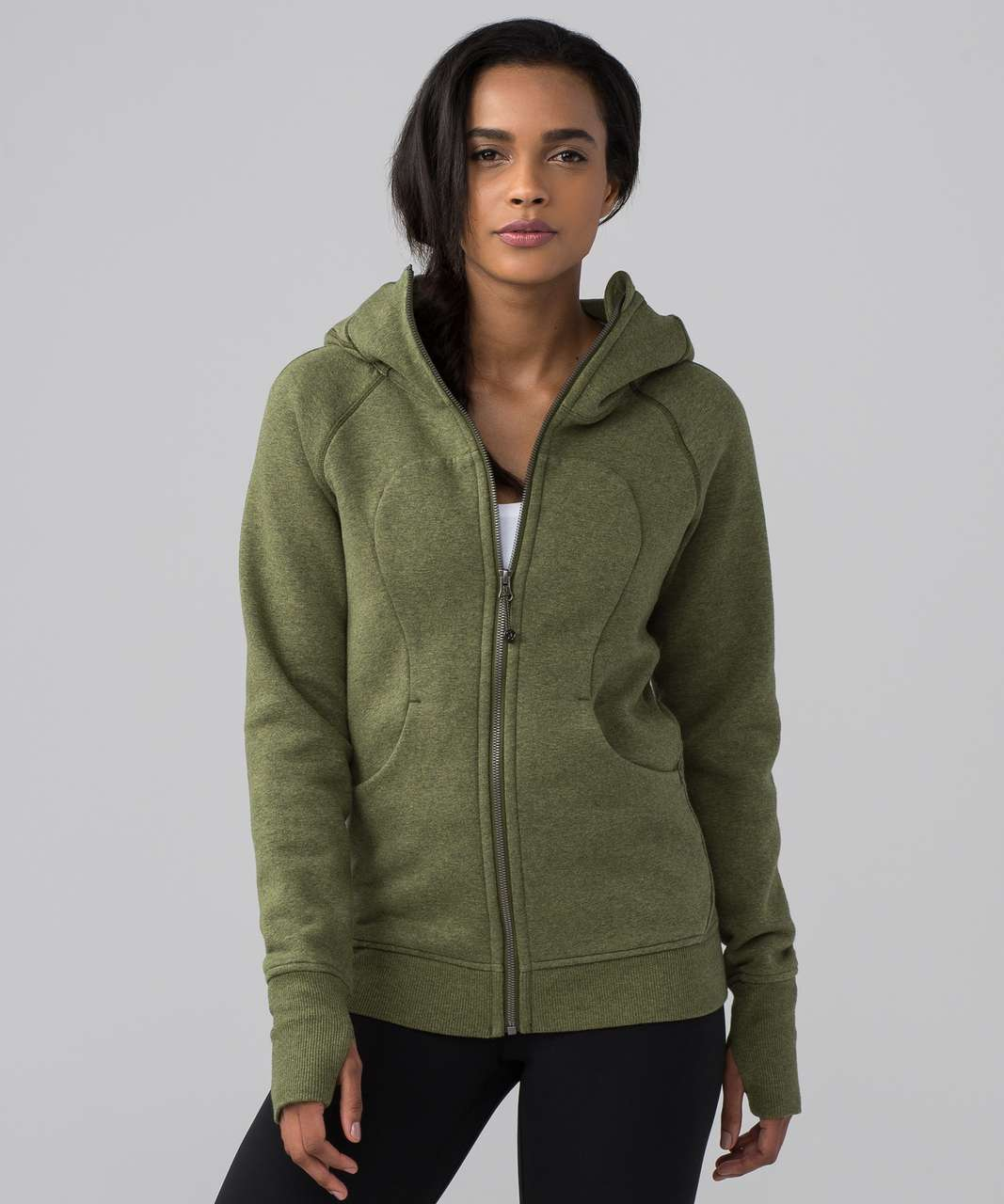 Lululemon Scuba Hoodie Classic Cotton Fleece - Heathered Brave Olive