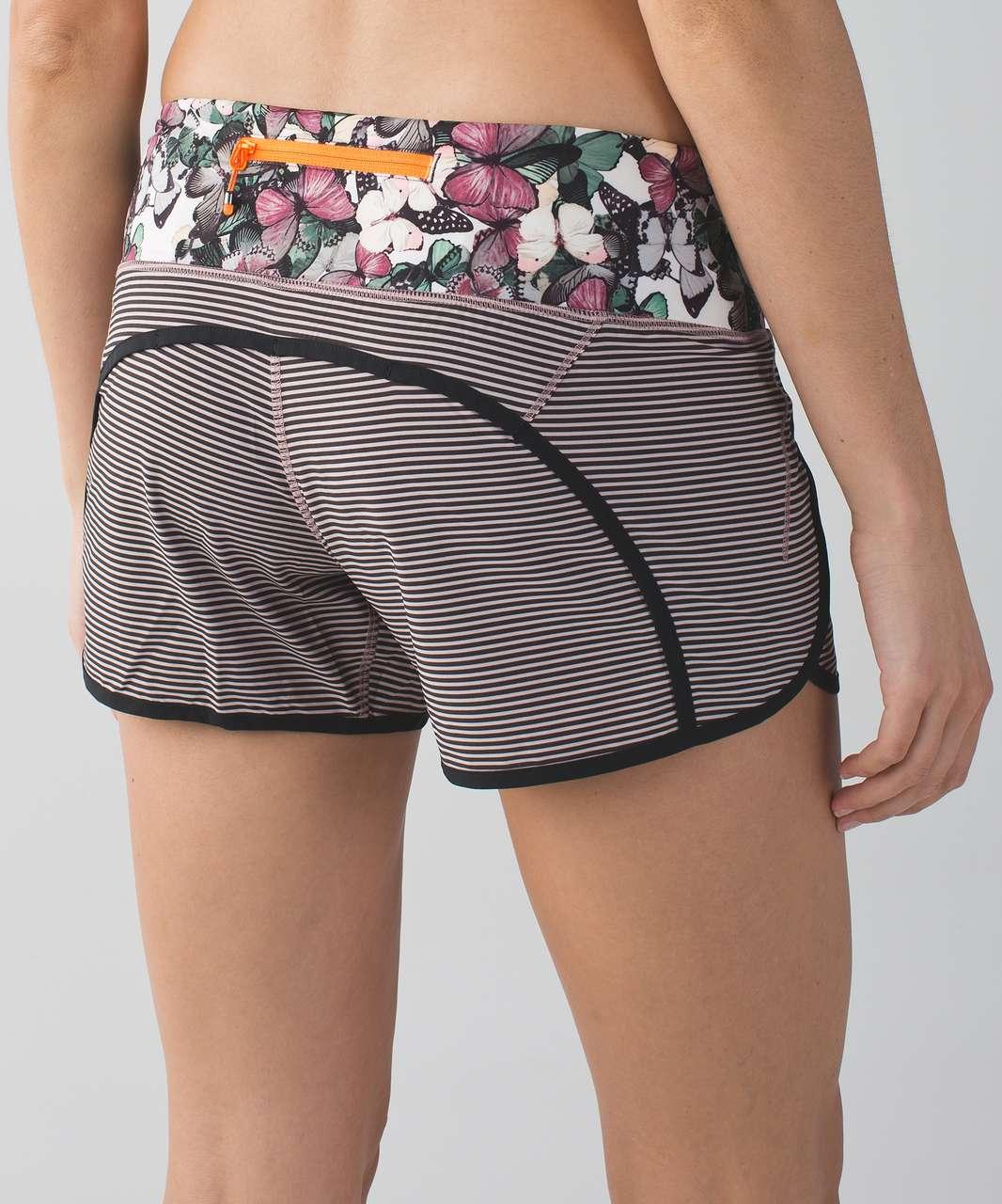 "Lululemon Run Times Short 4-way Stretch 4"" - Mini Pop Stripe Printed Mink Berry Black / Black / So Fly Butterfly Angel Wing Multi"