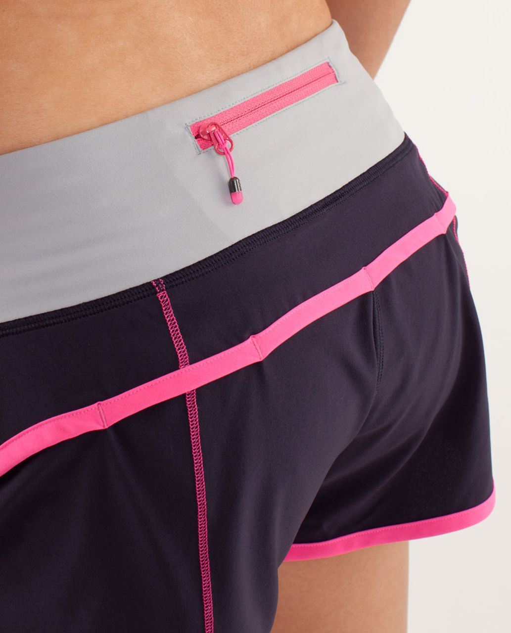 Lululemon Run:  Speed Short - Raspberry Glo Light / Black Swan / Silver Slate