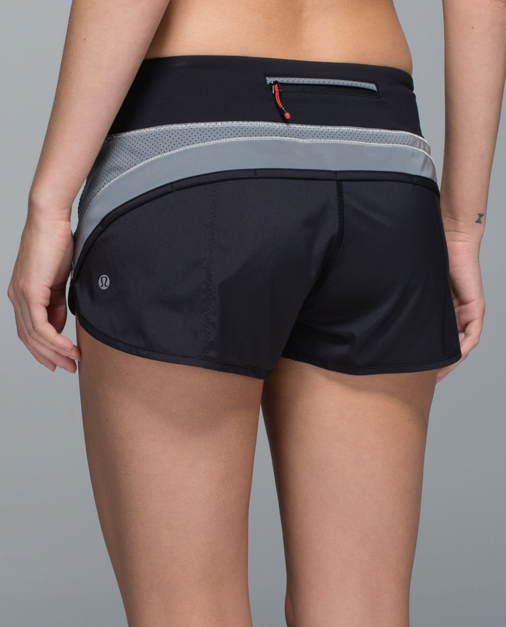 Lululemon Run:  Speed Short *Reflective - Silver / Black