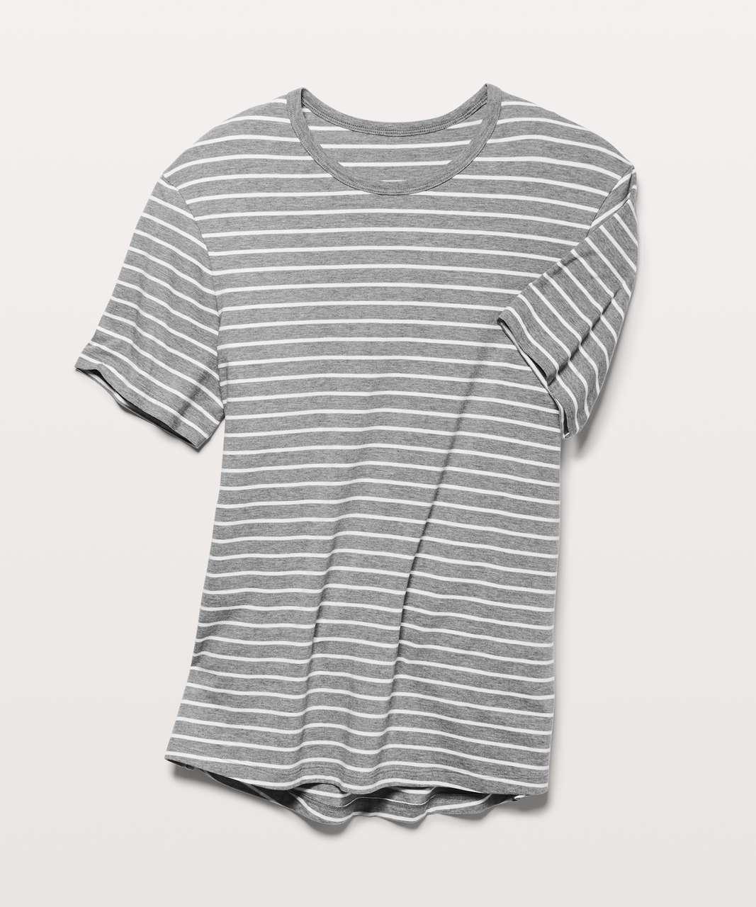 Lululemon 5 Year Basic Tee *Updated Fit - Quiet Stripe Heathered Medium Grey White