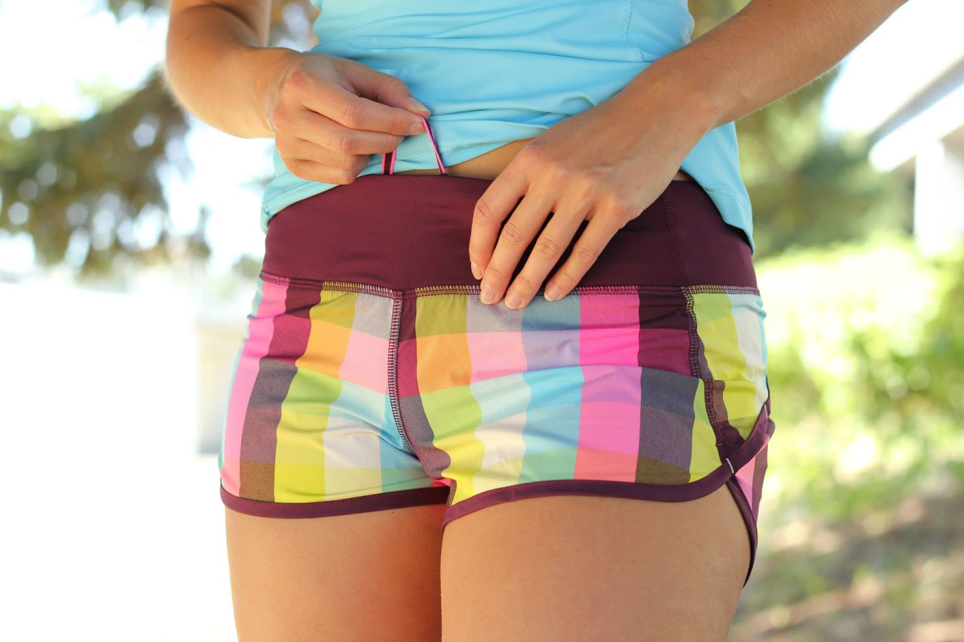 Lululemon Run:  Speed Short - Sea Check Multi / Plum