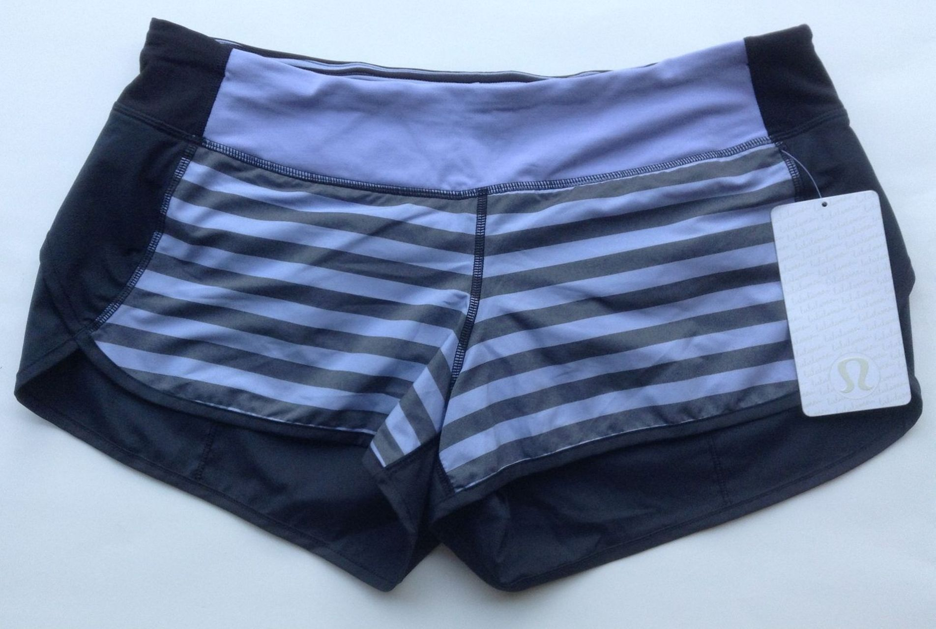 Lululemon Run:  Speed Short - Sea Stripe Polar Haze Black / Black