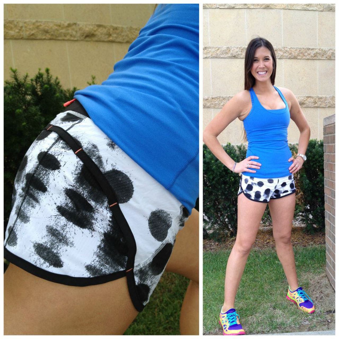 Lululemon Run:  Speed Short - Seaside Dot White / Black / Black