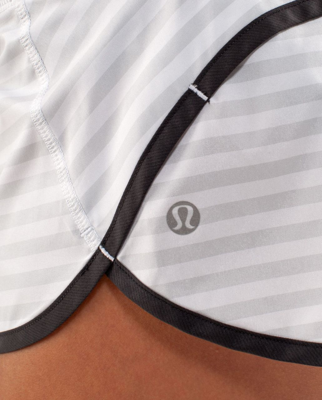 Lululemon Run:  Speed Short - Deep Coal / Heathered Deep Coal / White Heathered Blurred Grey Classic Stripe