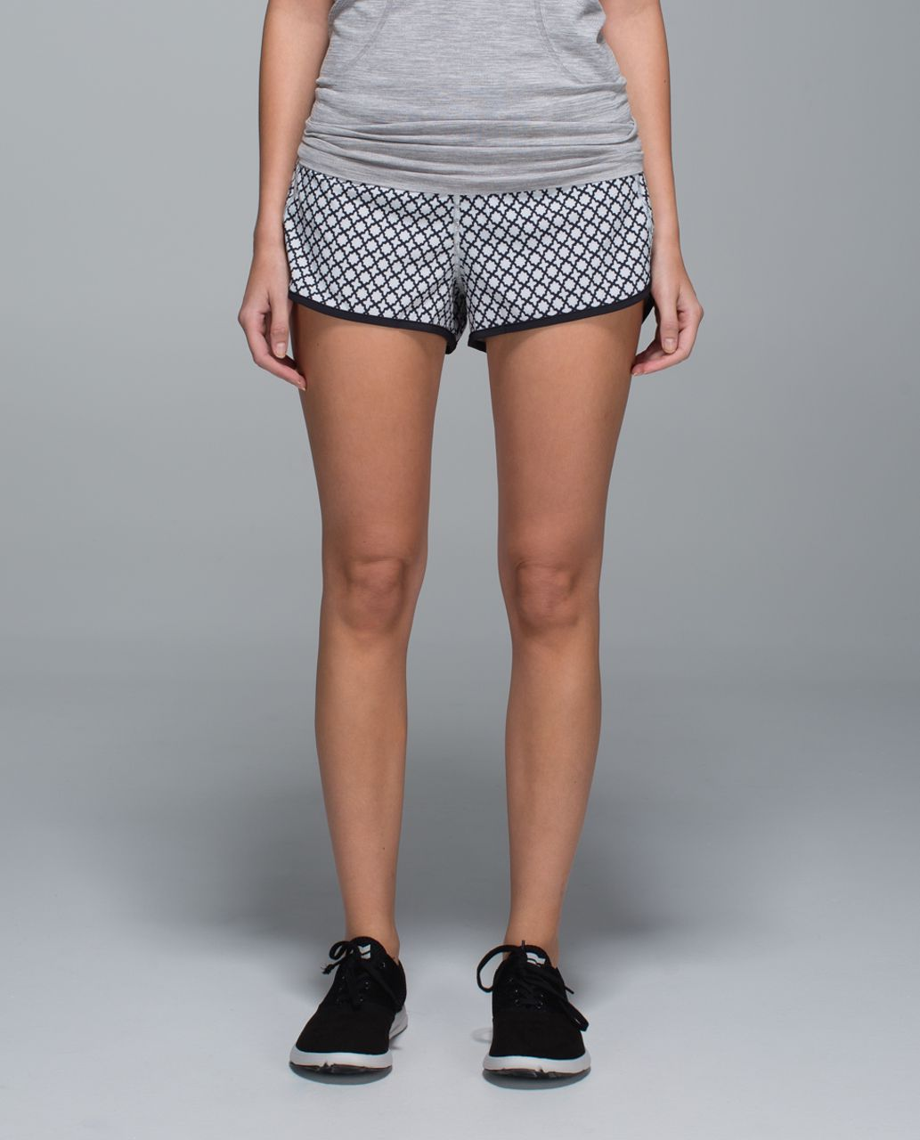 Lululemon Run:  Speed Short *4-way Stretch - Soul Geo Silver Spoon Black / Black