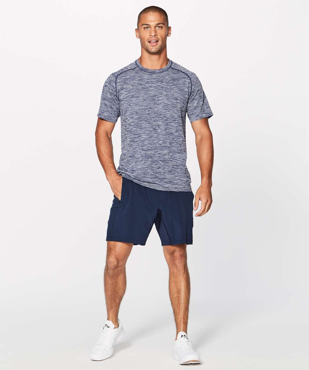 Lululemon Metal Vent Tech Surge Short Sleeve - Deep Navy / White