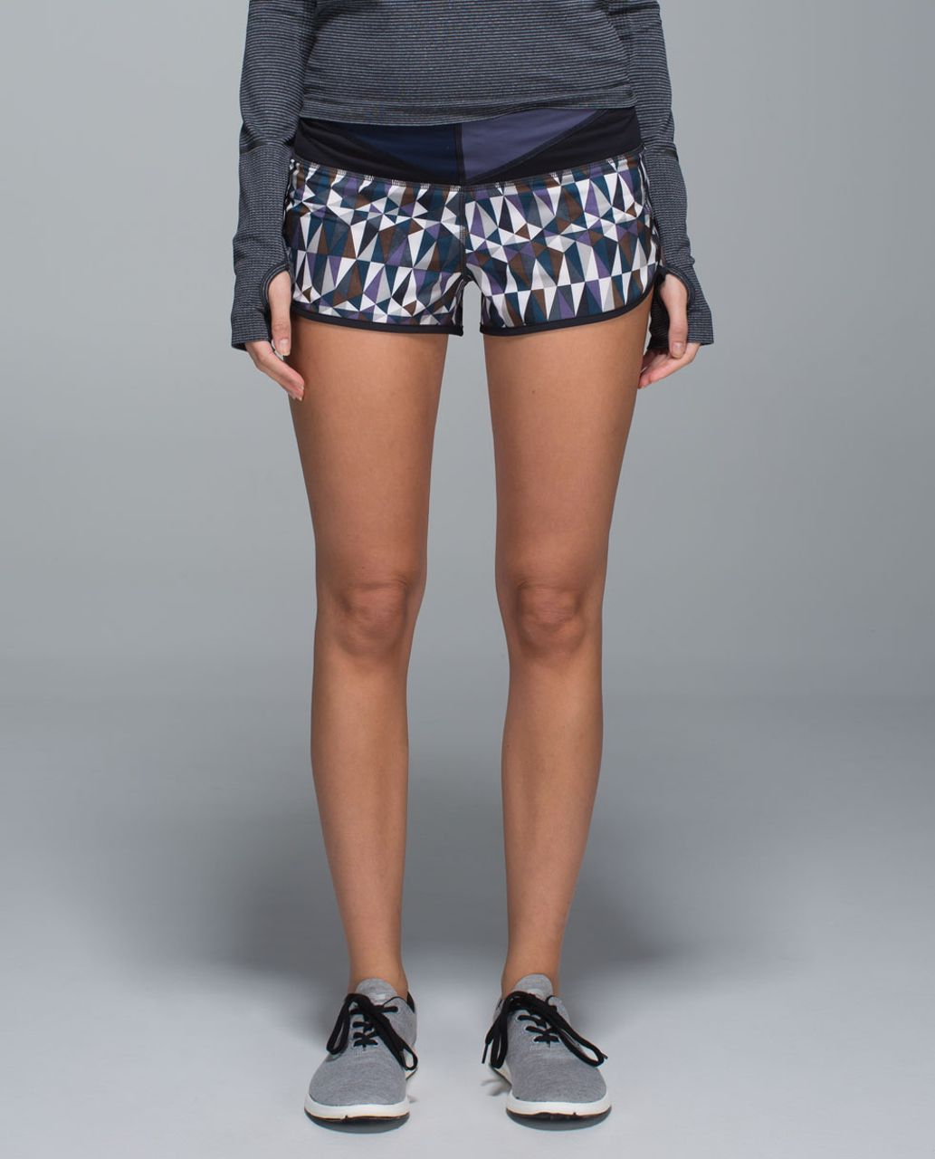 Lululemon Run:  Speed Short *4-way Stretch - Stained Glass Love Neutral Blush Black / Black / WI14 Quilt 25