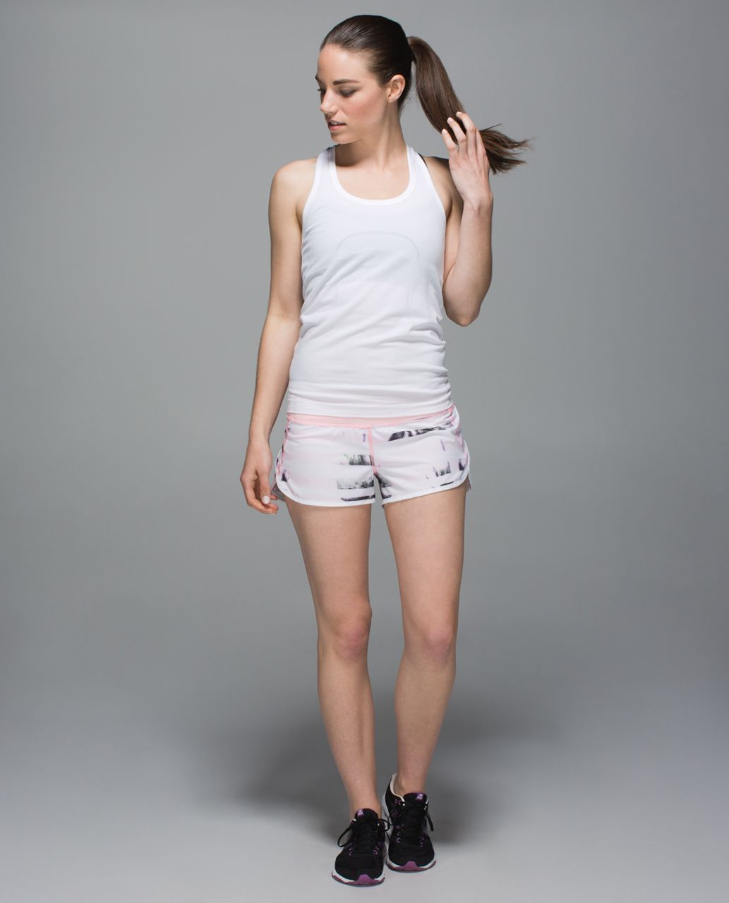 Lululemon Run:  Speed Short *4-way Stretch - Sunset Stripe Blush Quartz Multi / Blush Quartz / White
