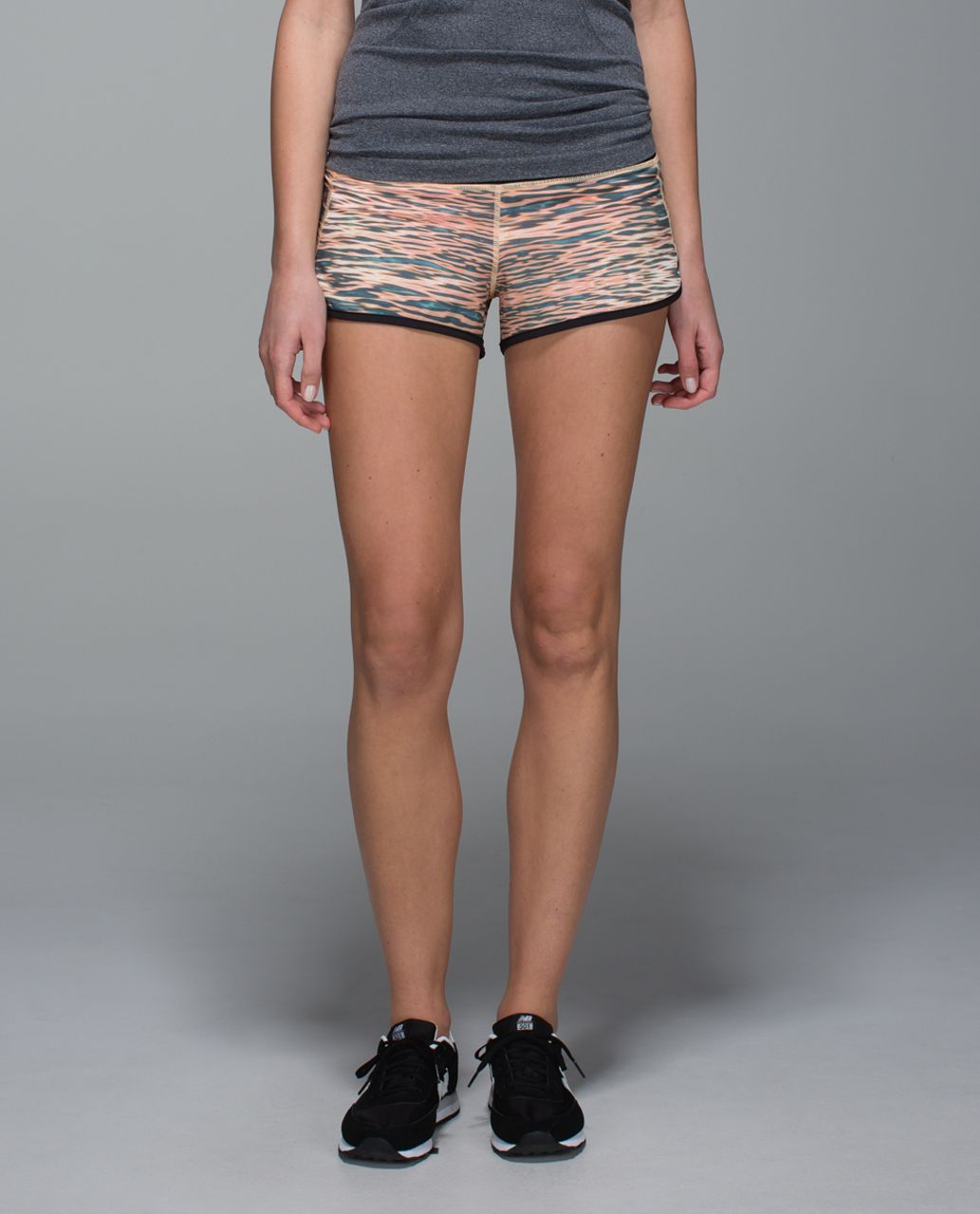 Lululemon Run:  Speed Short *4-way Stretch - Tiger Water Multi / Black