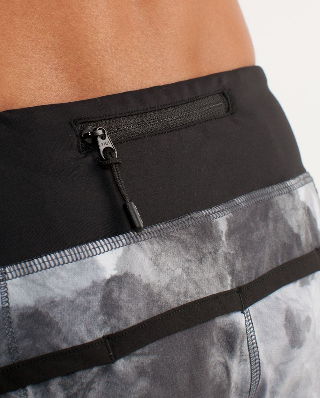 Lululemon Run:  Speed Short - White Coal Tinted Canvas Super / Black
