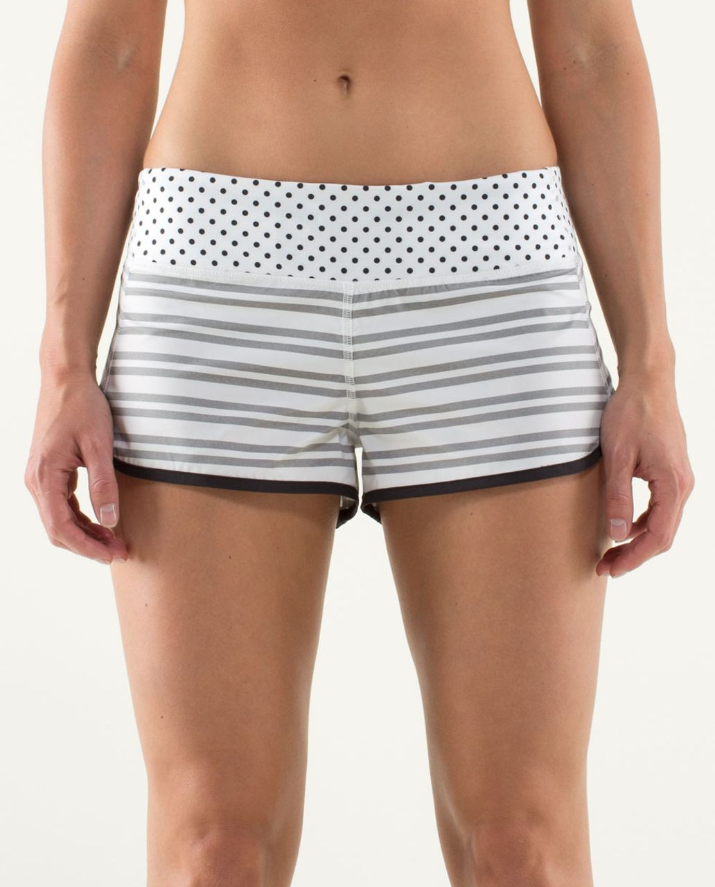 Lululemon Run:  Speed Short - Twin Stripe Black / Black / Mod Dot Printed Black