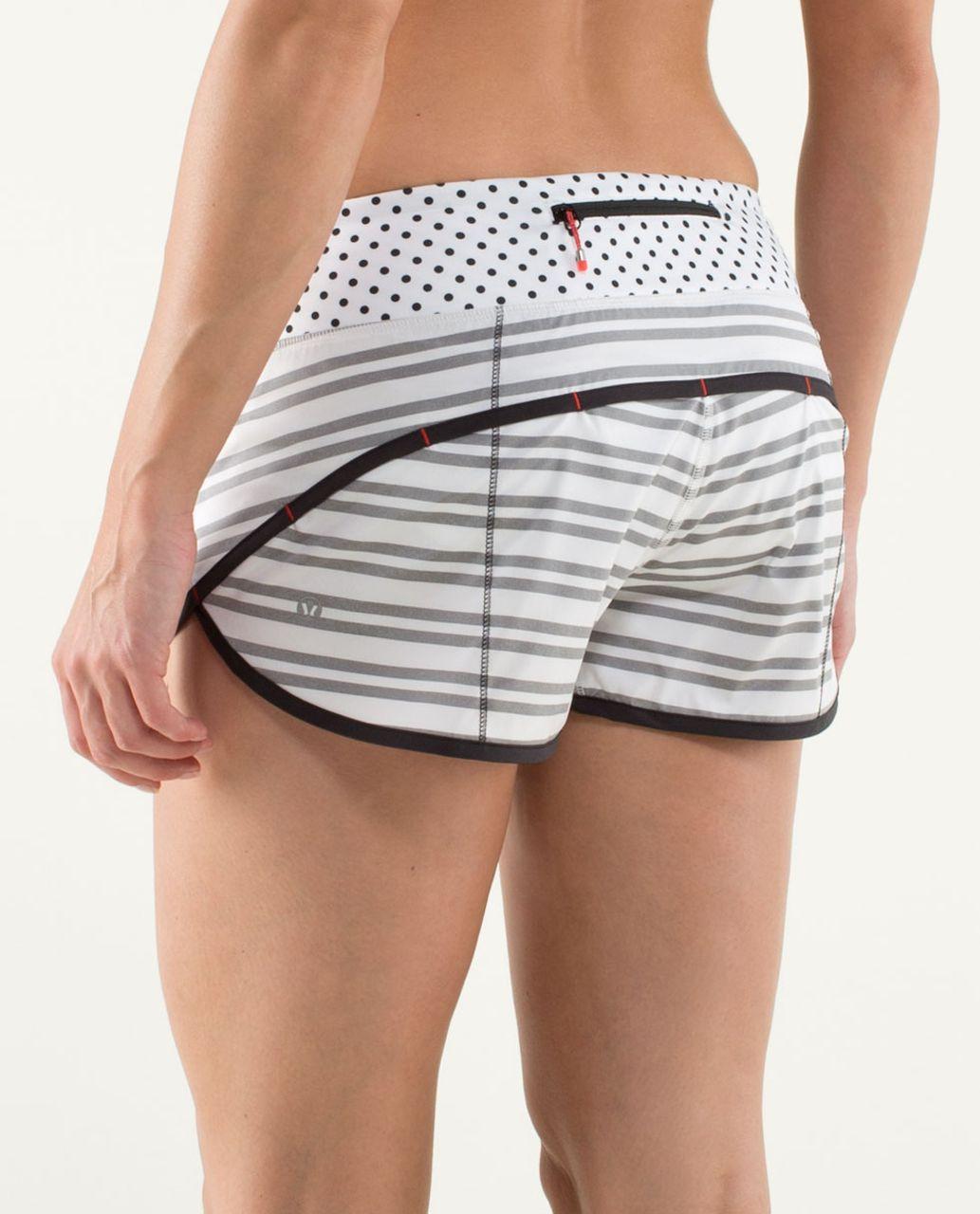 Lululemon Run:  Speed Short - Twin Stripe Black / Black / Mod Dot Printed Black