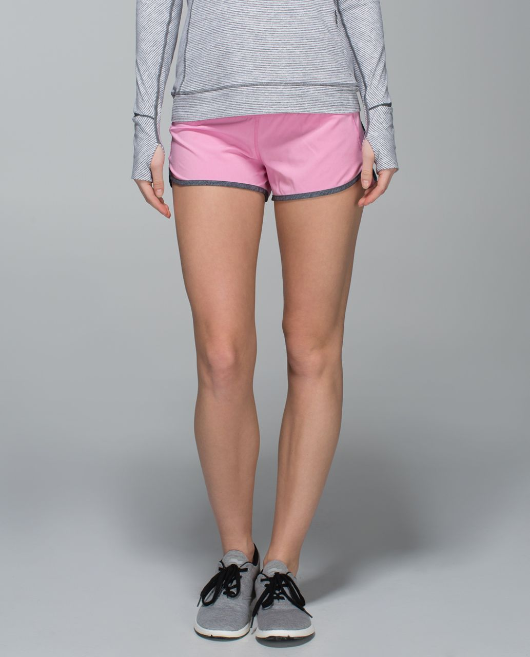 "Lululemon Speed Short *4-way Stretch 2.5"" - Vintage Pink / Heathered Texture Printed Greyt Deep Coal"