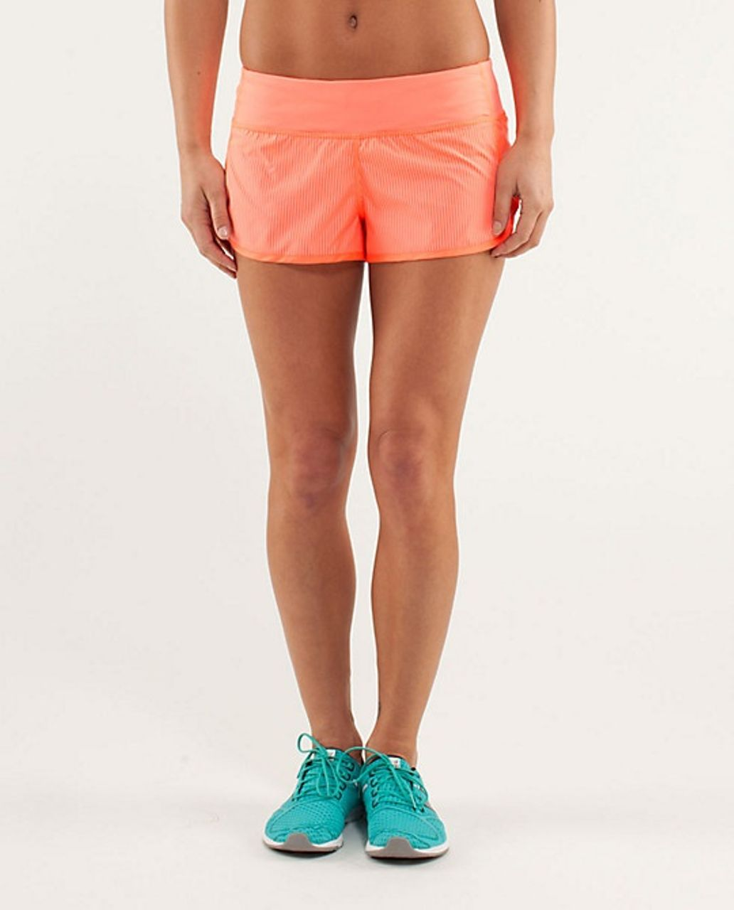 Lululemon Run:  Speed Short - Wagon Stripe Pop Orange / Pop Orange