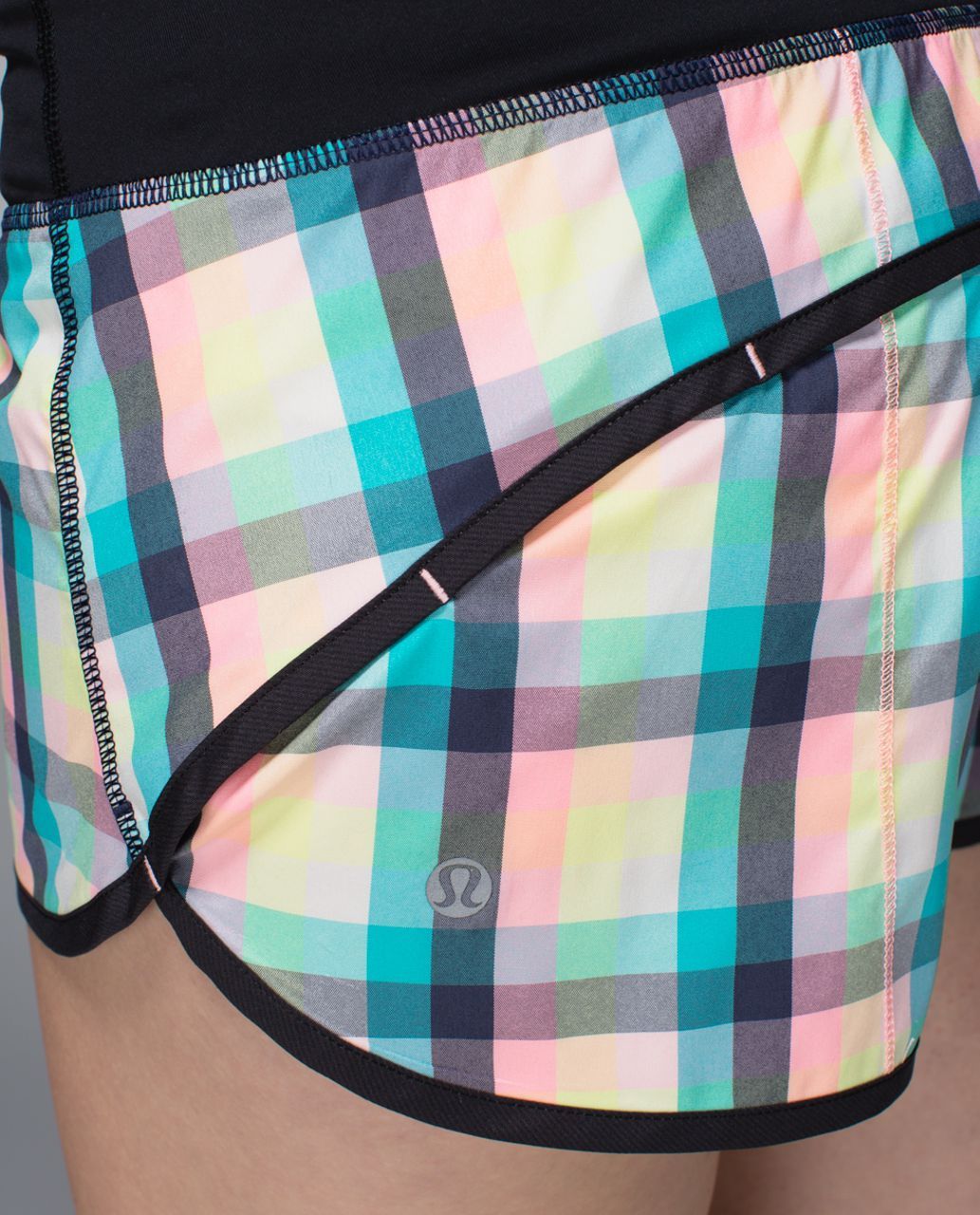 Lululemon Run:  Speed Short *2-way Stretch - Wee Wheezy Check Bleached Coral Cadet Blue / Black
