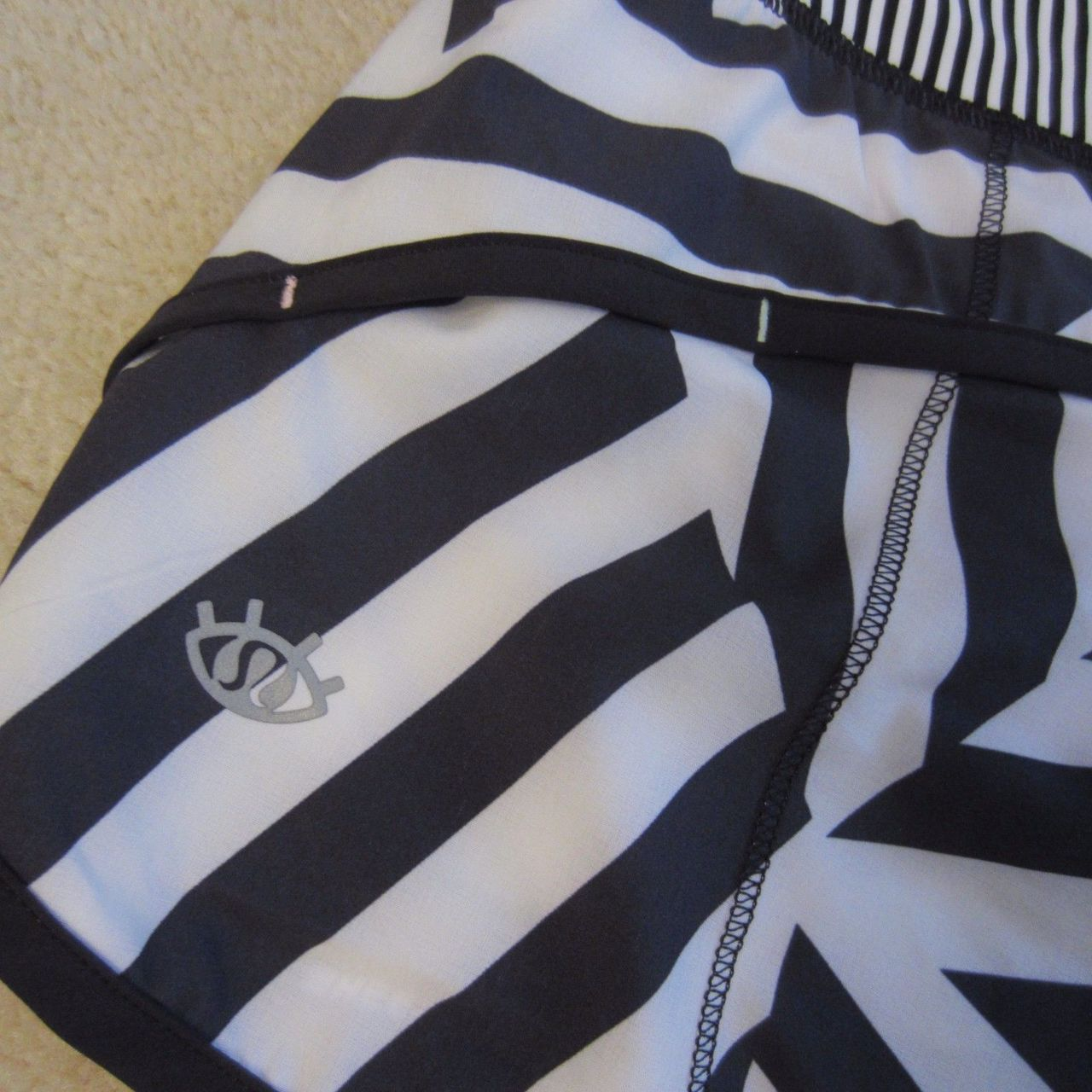 Lululemon Speed Short - Which Way Sway - Black/White (Black/White Vertical Stripe Waistband/Black Accent - AU or US/CA SW release)