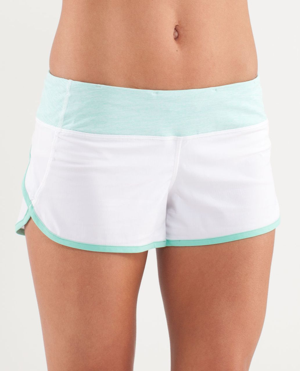 Lululemon Run:  Speed Short - White / Wee Stripe White Menthol / Menthol