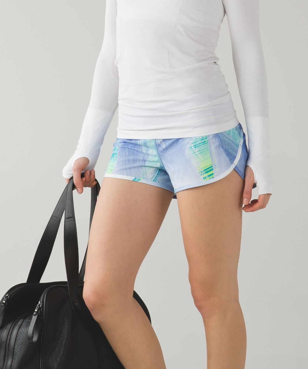 Lululemon Run:  Speed Short *4-way Stretch - Wind Chill White Lullaby / Lullaby / Ray