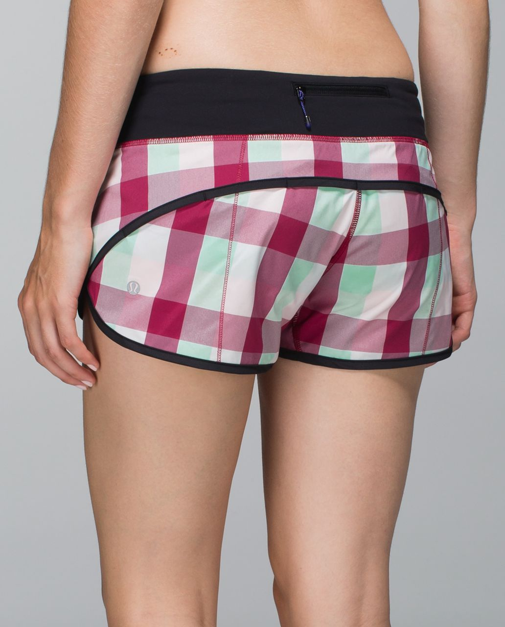 Lululemon Run:  Speed Short *2-way Stretch - Yama Check Bumble Berry Toothpaste / Black