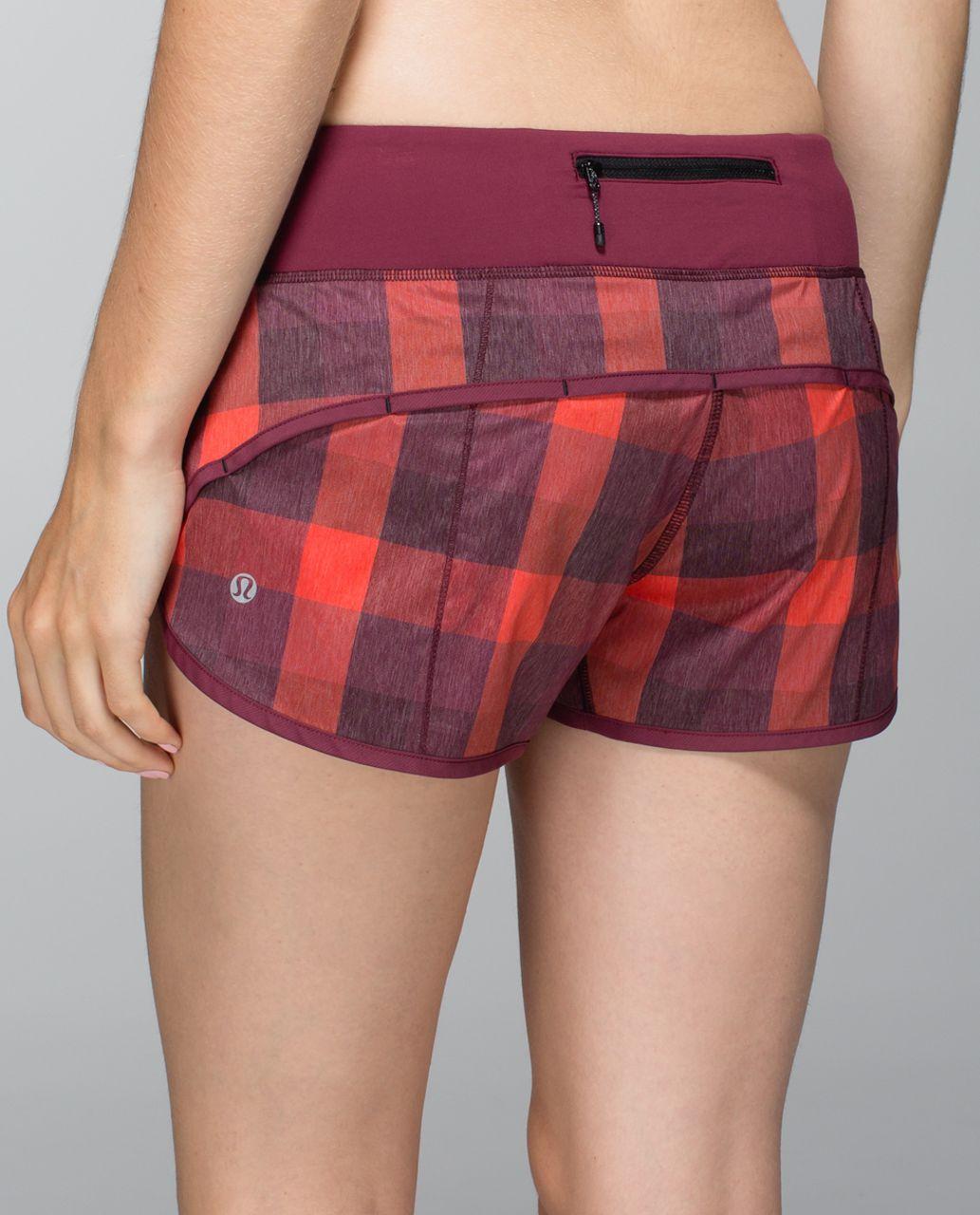 Lululemon Run:  Speed Short *2-way Stretch - Yama Check Heathered Flaming Tomato / Rust Berry