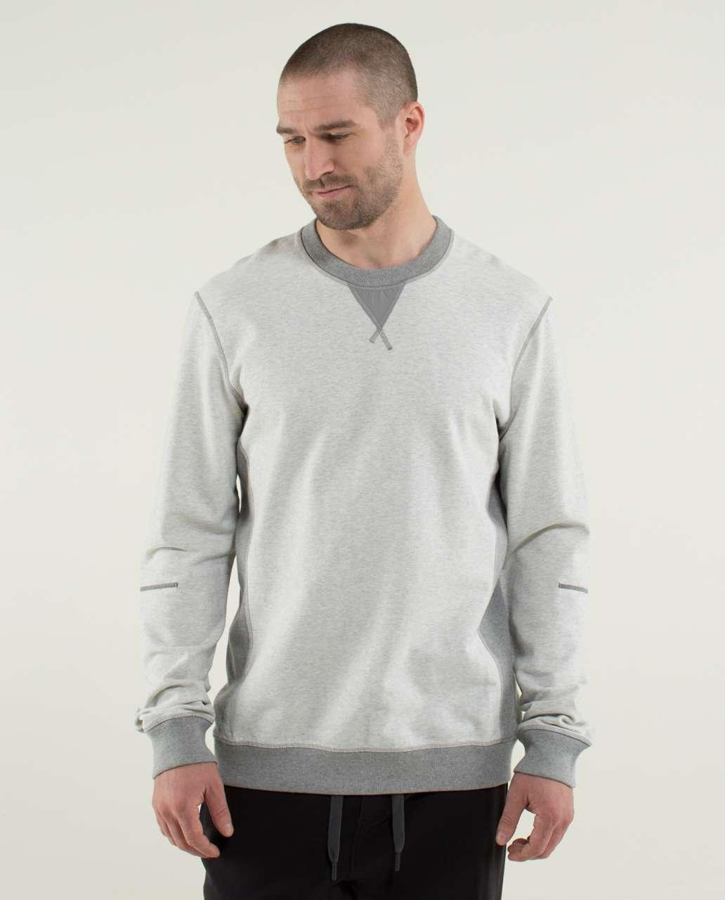 Lululemon All Town Crew Long Sleeve - Heathered White / Heathered Medium Grey