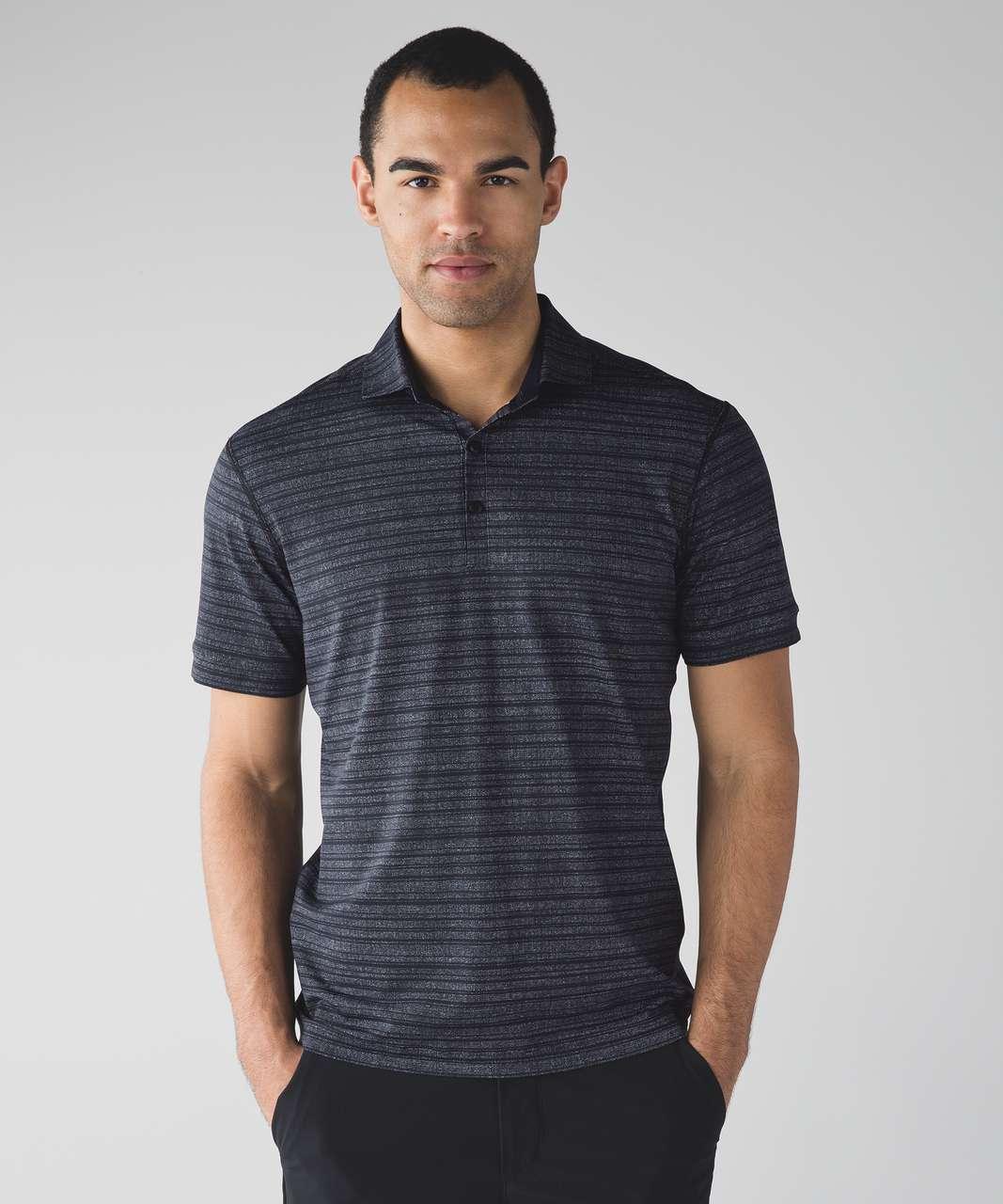 Lululemon Propel Polo - Cut Back Stripe Linen White Black