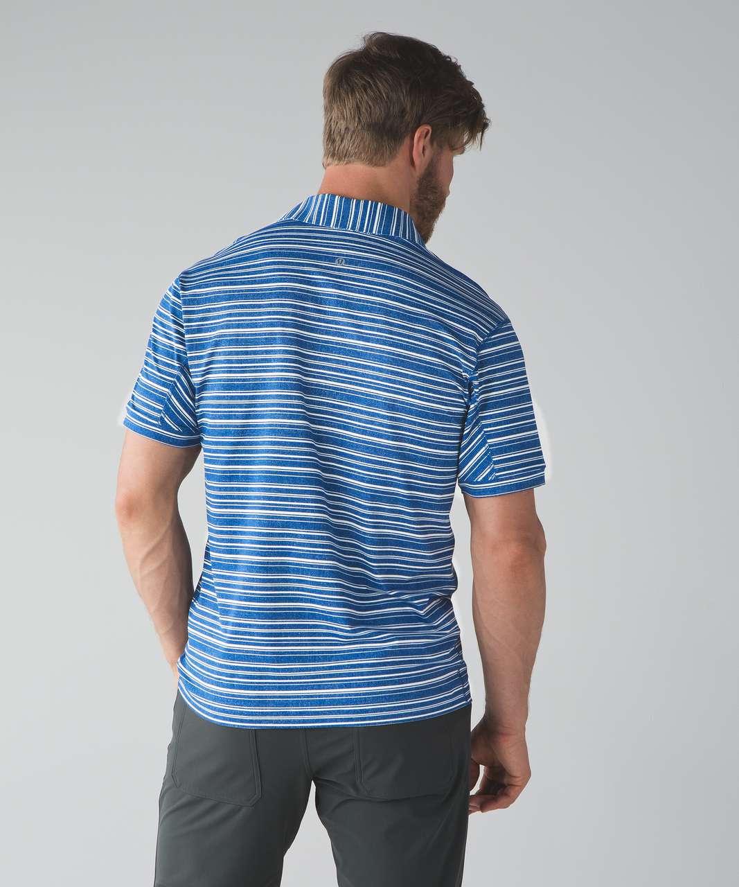 Lululemon Propel Polo - Cut Back Stripe Linen White Angel Wing