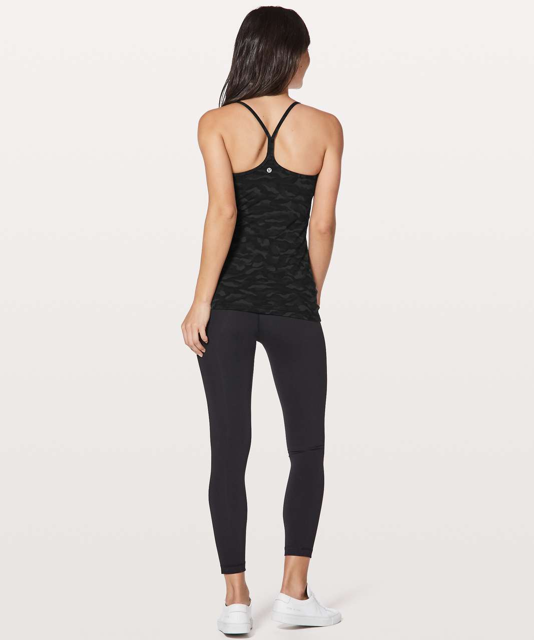 Lululemon Power Y Tank - Sequoia Camo Print Deep Coal Black / Black