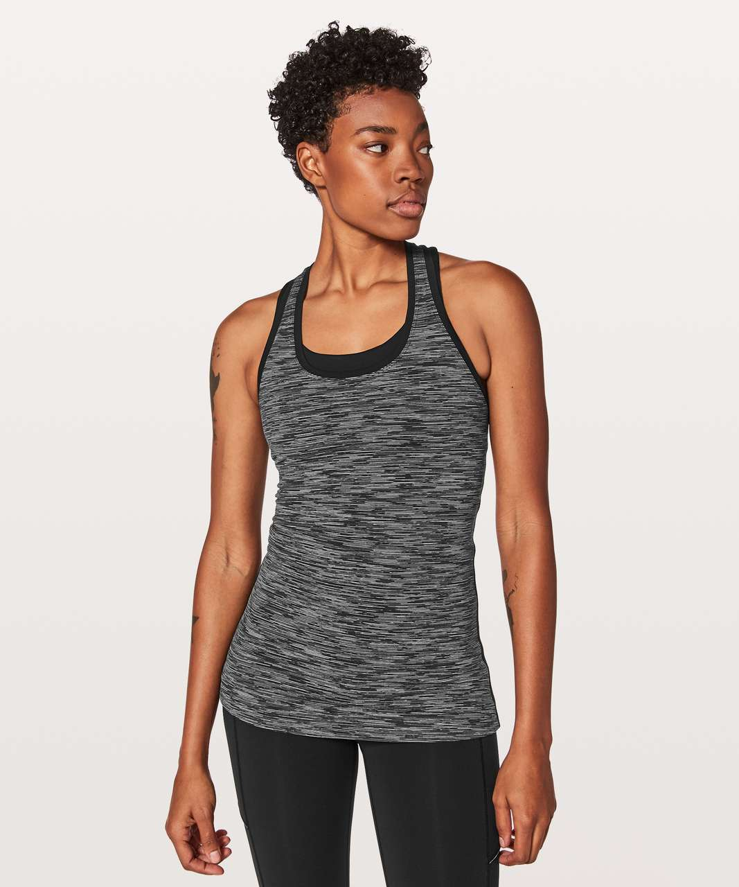 Lululemon Cool Racerback II Lined Up - Wee Are From Space Black Slate / Black