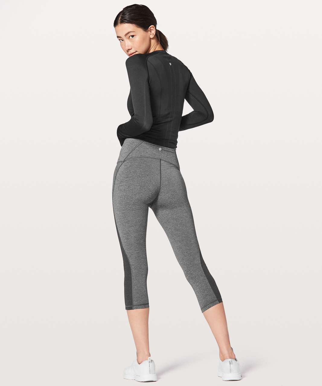 "Lululemon Train Times Crop *21"" - Heathered Black"