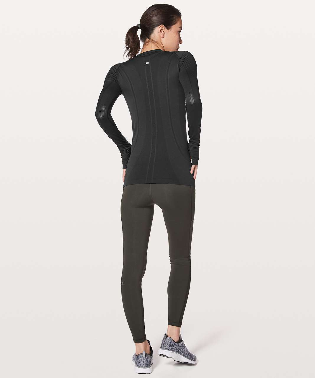 Lululemon Swiftly Tech Long Sleeve Crew Reflective - Black / Black