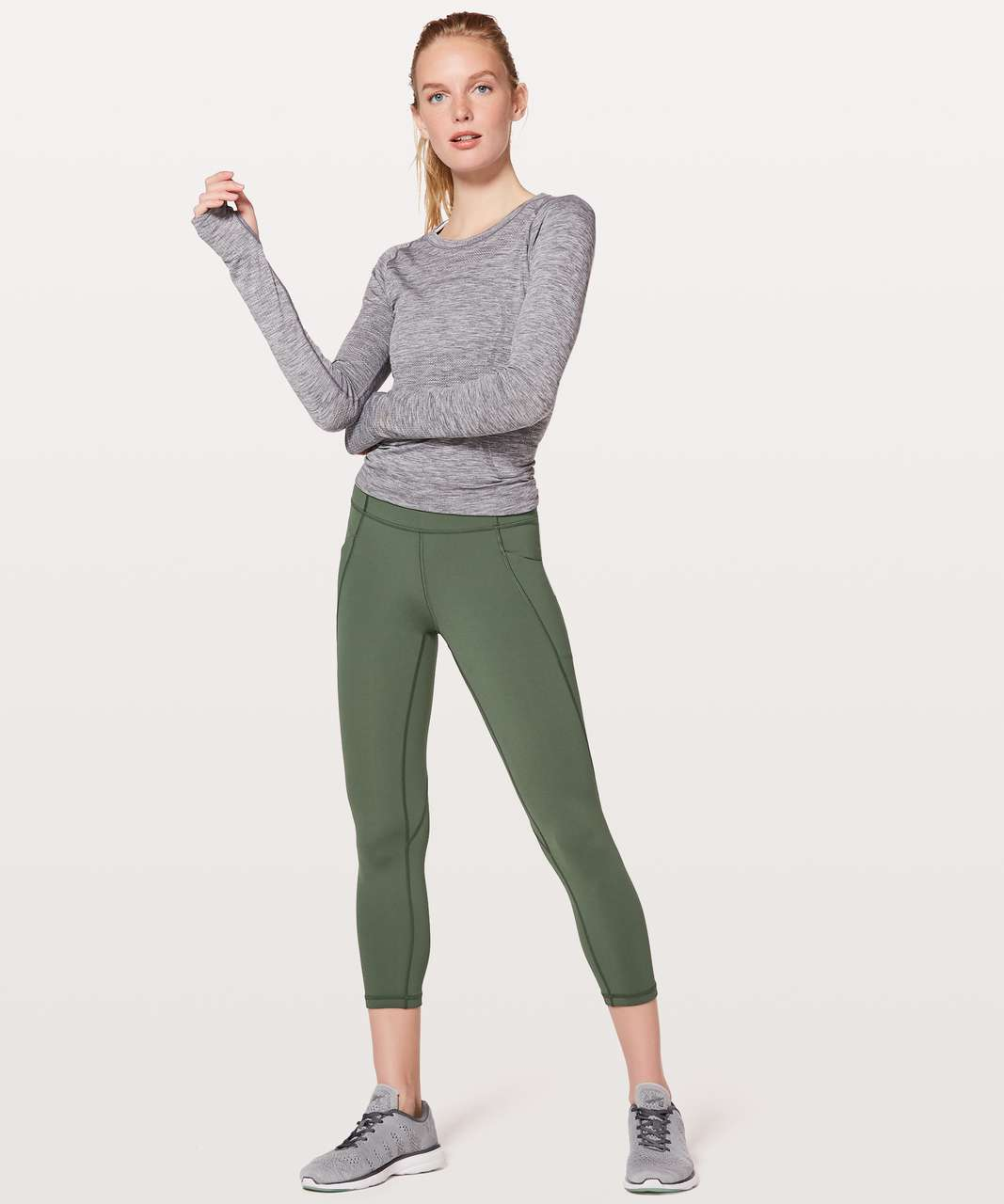 "Lululemon Time To Sweat Crop *23"" - Dark Forest"