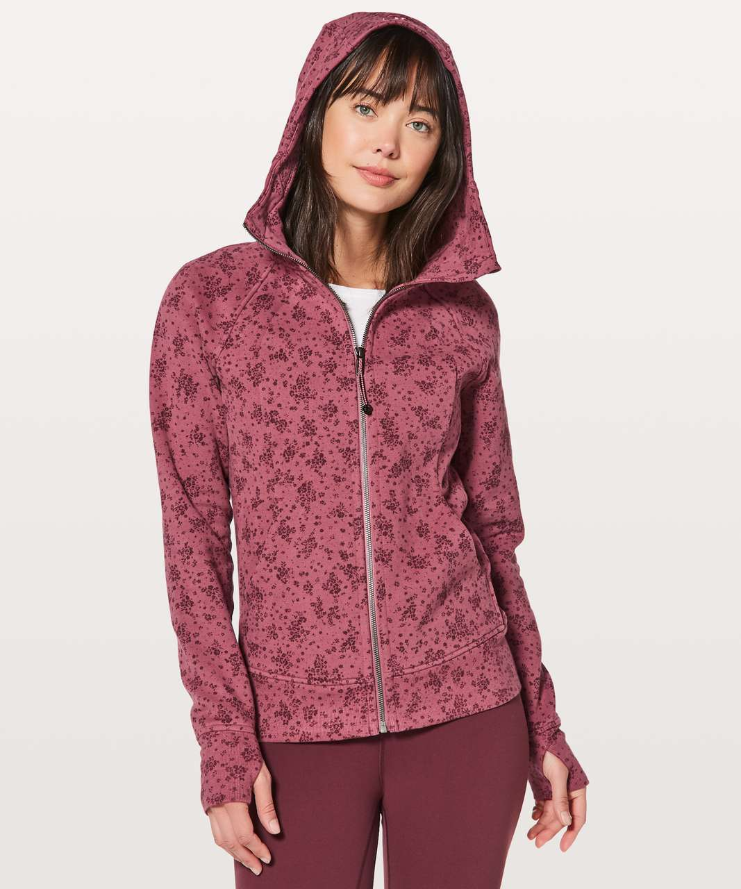 Lululemon Scuba Hoodie *Light Cotton Fleece - Pixie Floral So Merlot Redwood / So Merlot