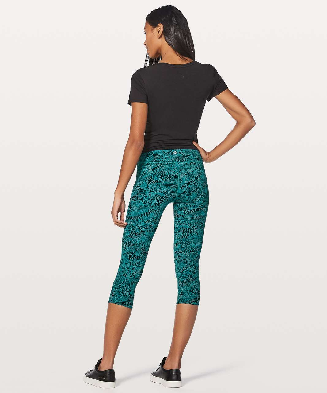 "Lululemon In Movement Crop *Everlux 19"" - Kitakami Spirit Green Black"