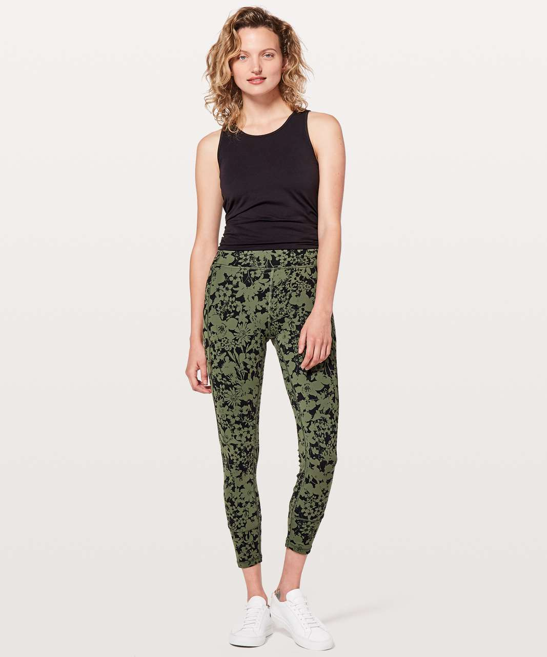 "Lululemon In Movement 7/8 Tight *Everlux 25"" - Efflorescent Barracks Green Black"