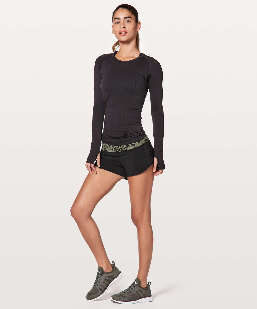"Lululemon Speed Up Short 2.5"" - Black / Efflorescent Barracks Green Black"